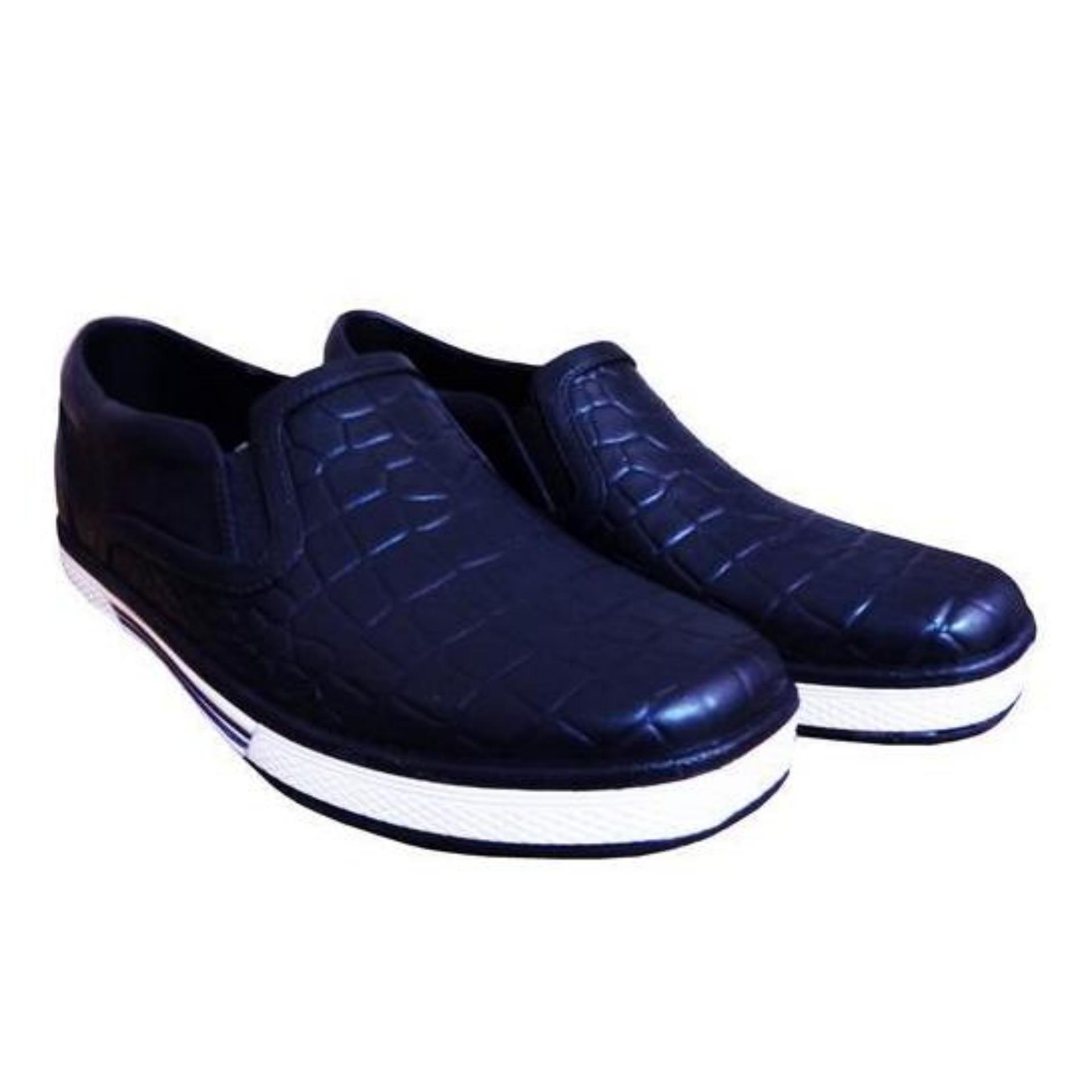 ATT Sepatu Pria BOS 1130 Biru Tua Slip On Sepatu Karet Motif Kulit Buaya
