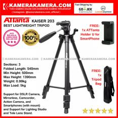 ATTanta Kaiser 203 Light Weight Tripod Video Camera Max Height 1390mm Free Bag and ATTanta   Holder U for DSLR and Mirrorless Canon Nikon Sony Panasonic Fujifilm and Action Camera GoPro Brica Xiaomi Yi