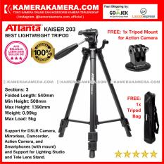 ATTanta Kaiser 203 Light Weight Tripod Video Camera Max Height 1390mm Free Bag and Tripod Mount for DSLR and Mirrorless Canon Nikon Sony Panasonic Fujifilm and Action Camera GoPro Brica Xiaomi Yi