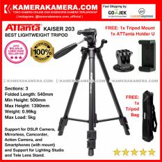 ATTanta Kaiser 203 Light Weight Tripod Video Camera Max Height 1390mm Free Bag ATTanta Holder U and Tripod Mount for DSLR and Mirrorless Canon Nikon Sony Panasonic Fujifilm and Action Camera GoPro Brica Xiaomi Yi