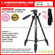 ATTanta Kaiser 203 Light Weight Tripod Video Camera Max Height 1390mm Free Bag for DSLR and   Mirrorless Canon Nikon Sony Panasonic Fujifilm and Action Camera GoPro Brica Xiaomi Yi