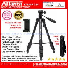 ATTanta Kaiser 234 Light Weight Tripod Video Camera Max Height 1410mm Free Bag and ATTanta   Holder U for DSLR and Mirrorless Canon Nikon Sony Panasonic Fujifilm and Action Camera GoPro Brica Xiaomi Yi