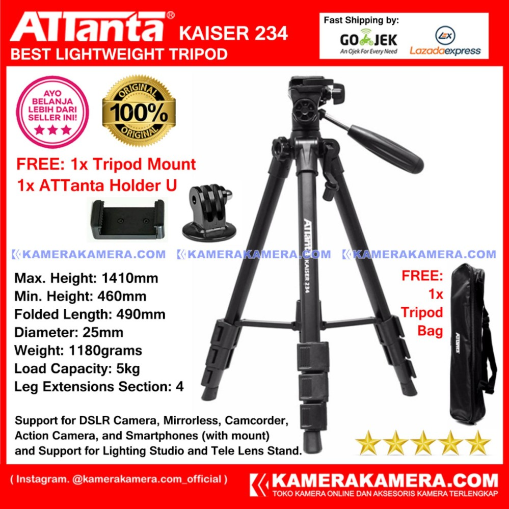 ATTanta Kaiser 234 Light Weight Tripod Video Camera Max Height 1410mm Free Bag ATTanta Holder U   and Tripod Mount for DSLR and Mirrorless Canon Nikon Sony Panasonic Fujifilm and Action Camera GoPro Brica Xiaomi Yi