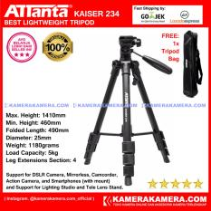 ATTanta Kaiser 234 Light Weight Tripod Video Camera Max Height 1410mm Free Bag for DSLR and Mirrorless Canon Nikon Sony Panasonic Fujifilm and Action Camera GoPro Brica Xiaomi Yi
