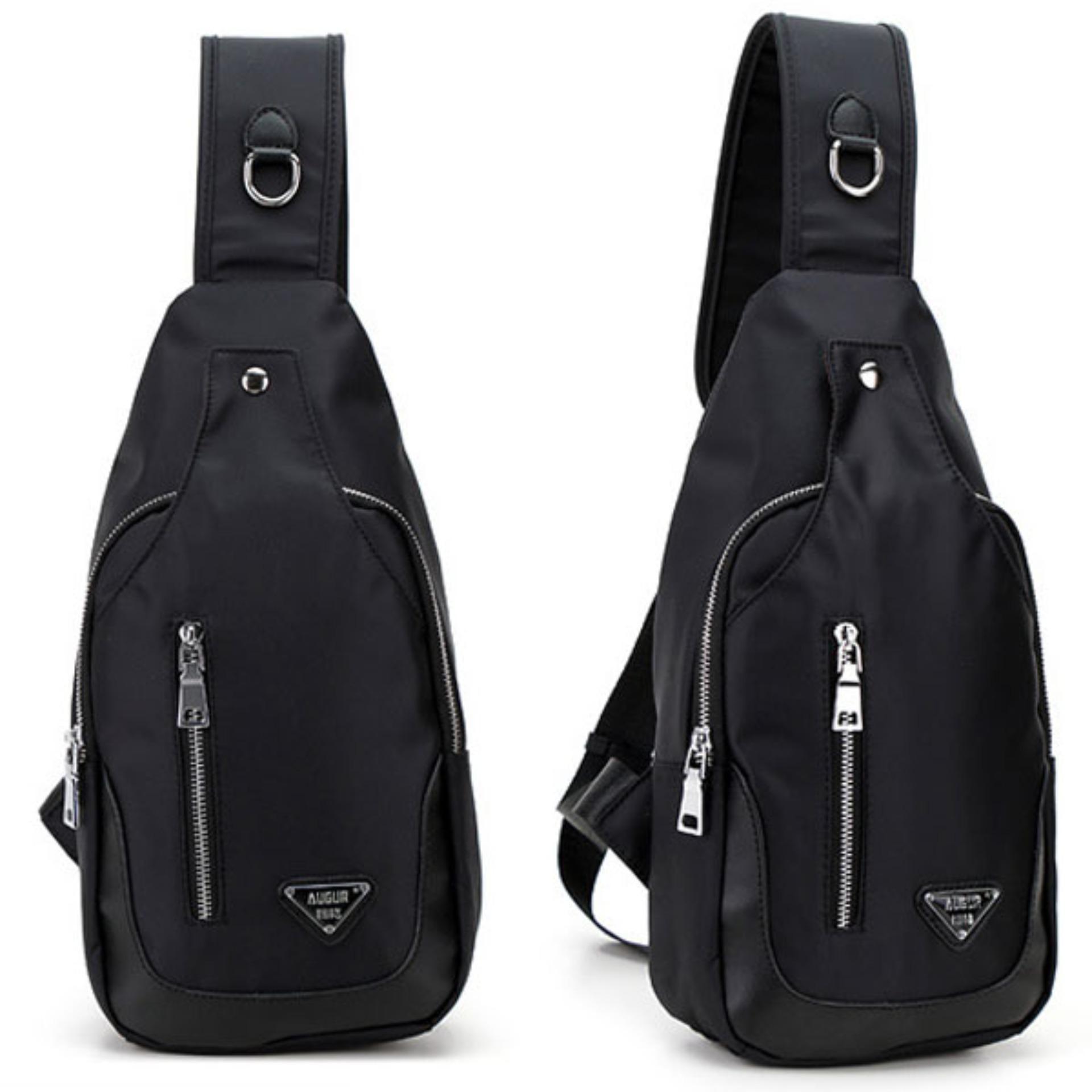 Spesifikasi Augur Men S Gloss Velcro Shoulder One Strap Bag Tas Bahu Tsj338 Black Tas Pria Murah