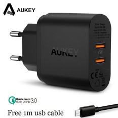 AUKEY 36 W Fast Charger Quick Charge 3.0 Dual USB Wall Charger untuk SAMSUNG Galaxy S8 Xiaomi Mi5 Redmi 4X IPhone LG HTC Huawei Dll PA-T16-Intl