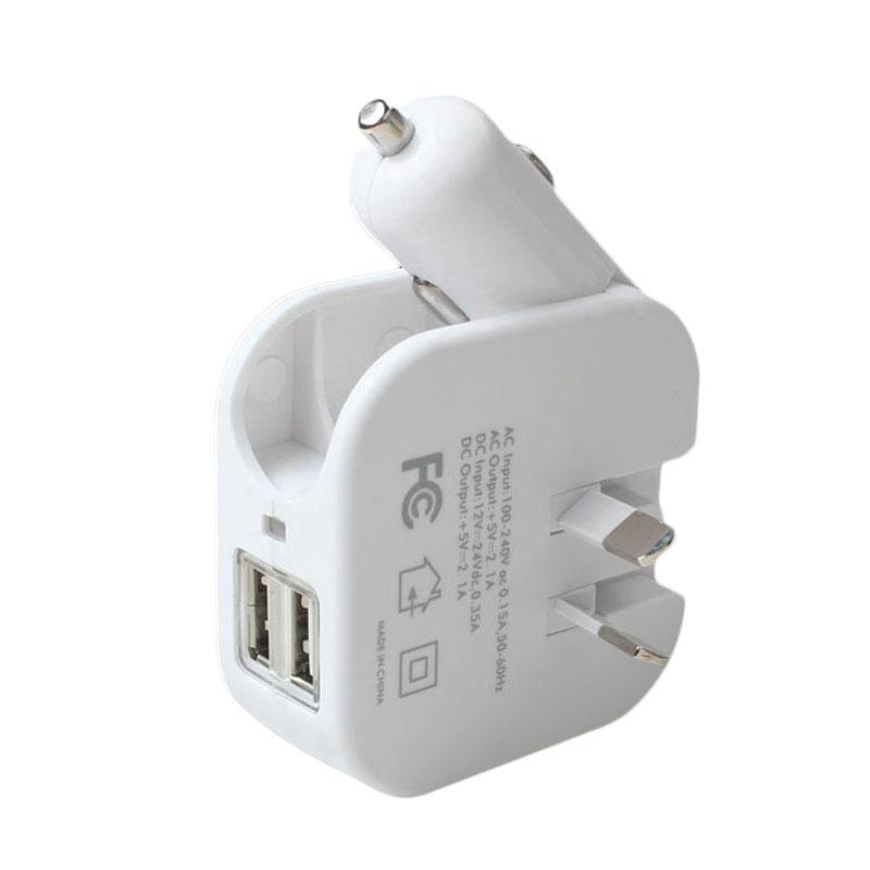Beli Aukey Baru 2 In 1 Mobil Dan Rumah Travel Wall Charger Adaptor 2 1A Dual Usb Port Au Us Plug Intl Cicil
