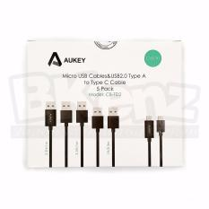 Beli Aukey Charging Cable 5 Pack 2X Micro Usb 1M 1X Type C 1M 2X Micro Usb 30Cm Cb Td2 Aukey