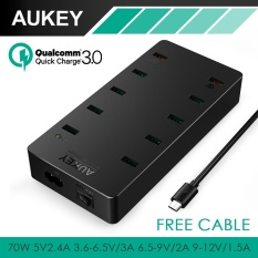 Toko Aukey Multi Usb Charger 70W Eu Us Plug 10 Usb Ports Wall Charger With Aipower Qc 3 For Iphone 7Plus Android With Free Cable Aukey Pa T8 Intl Termurah Tiongkok