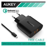 Promo Aukey Pa T16 Usb Wall Charger With Dual Qualcomm Quick Charge 3 Akhir Tahun
