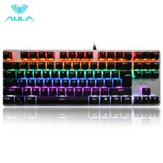 AULA AK2012 Full Mechanical Keyboard Wired Gaming Rainbow LED light Green Switch TKL - Silver