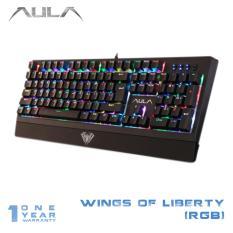 AULA Wings of Liberty Mechanical Gaming Keyboard Blue Switch 104keys RGB LED Backlight - Hitam