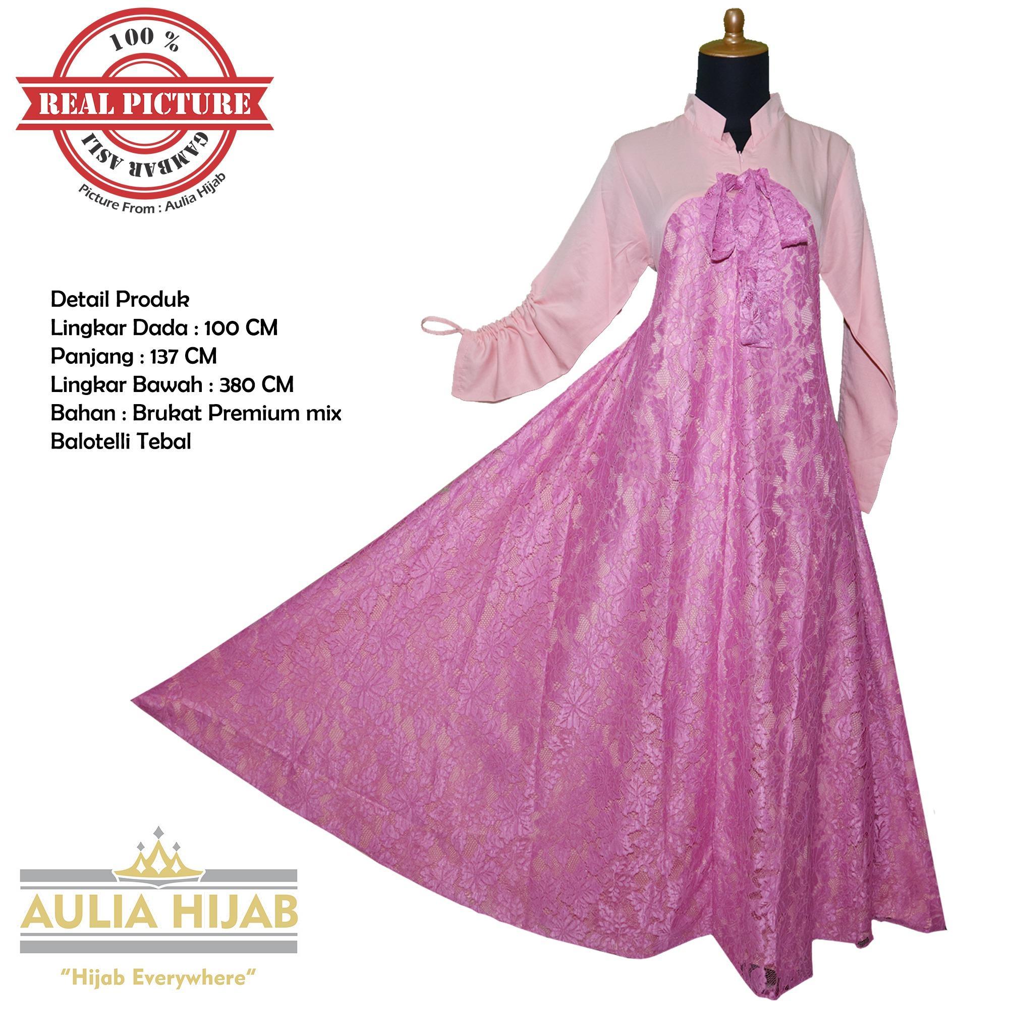 Aulia Hijab - Gamis Brukat Asli Alina Dress Bahan Brukat/Gamis Pesta/Gamis Kerja/Gamis Kondangan/Gamis Brukat/Gamis Brokat/Gamis Terbaru/Gamis Real Picture/Gamis Cantik