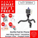 Promo Toko Authentic Gorilla Pod Flexible Tripod Holder U For Smartphone Free Iring Stand Headset Earphone Bumper Case Bonus Penjepit Kabel Free Iring Stand Headset Earphone Bumper Case Bonus Penjepit Kabel