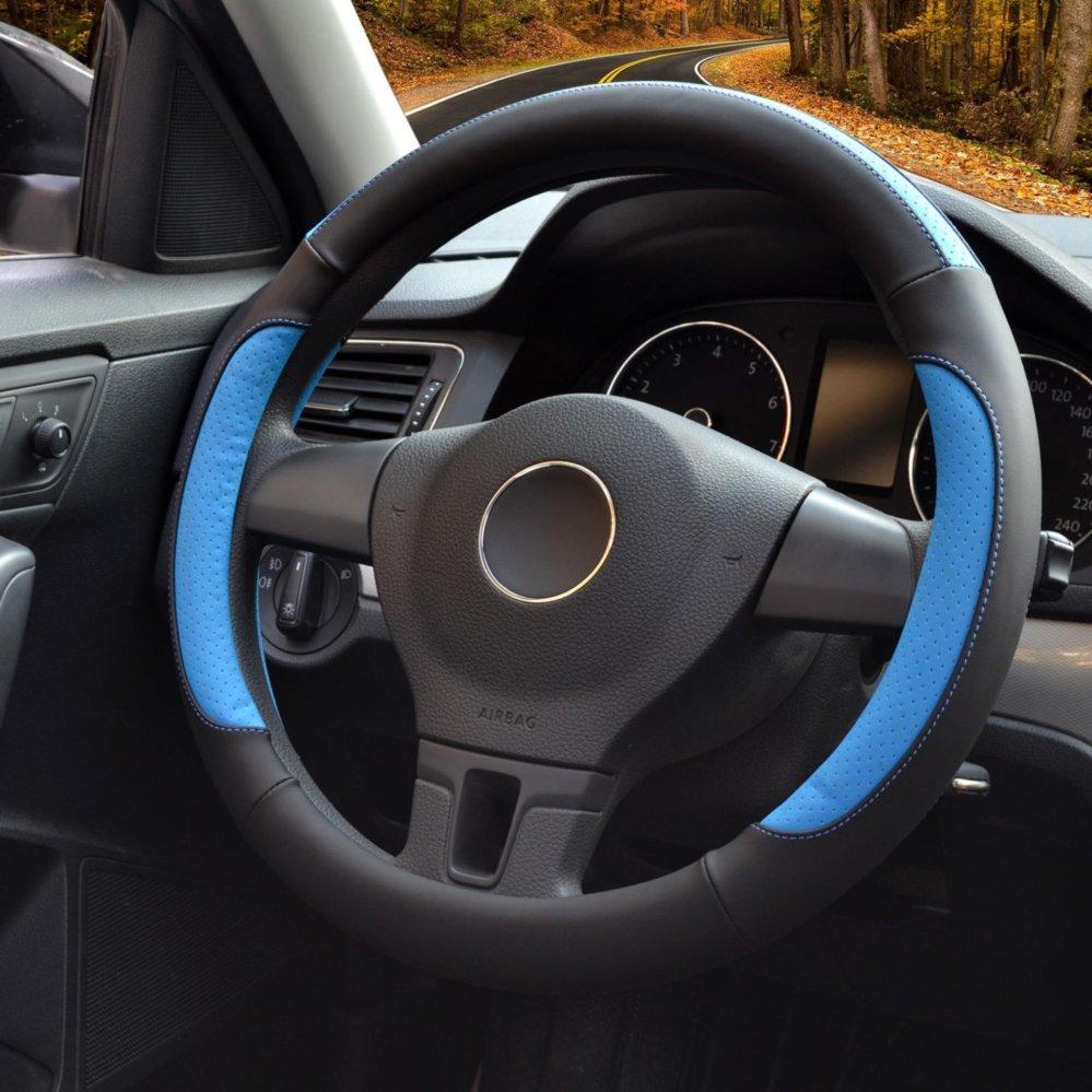 Beli Auto Roda Kemudi Covers Diameter 15 Inch Kulit Pu For Musim Penuh Hitam And Biru Internasional Tiongkok