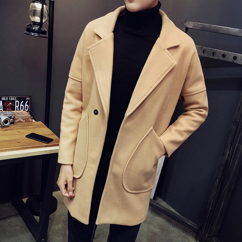 Jual Autumn And Winter Fashion Korean Lapel Woolen Coat In The Long Wool Coat Trend Of Men S Fashion Slim Windbreaker Intl Murah