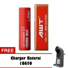 AWT Baterai 3000 mAh Tipe 18650 Rechargeable Li-ion - Merah + Free Charger