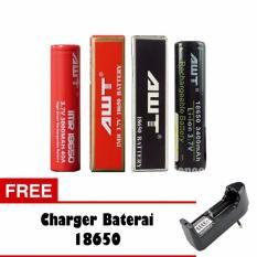 AWT Baterai 3400 mAh Tipe 18650 Rechargeable Li-ion 2 Pcs - Hitam dan Merah + Free Charger