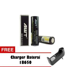 AWT Baterai 3400 mAh Tipe 18650 Rechargeable Li-ion - Hitam + Free Charger