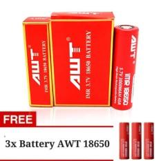 Rp 136.000. Big King - Paket AWT Baterai IMR 18650 3000 Mah 3.7V 40A Baterai Rokok Elektrik High Drain Rechargeable + Gratis 3 ...