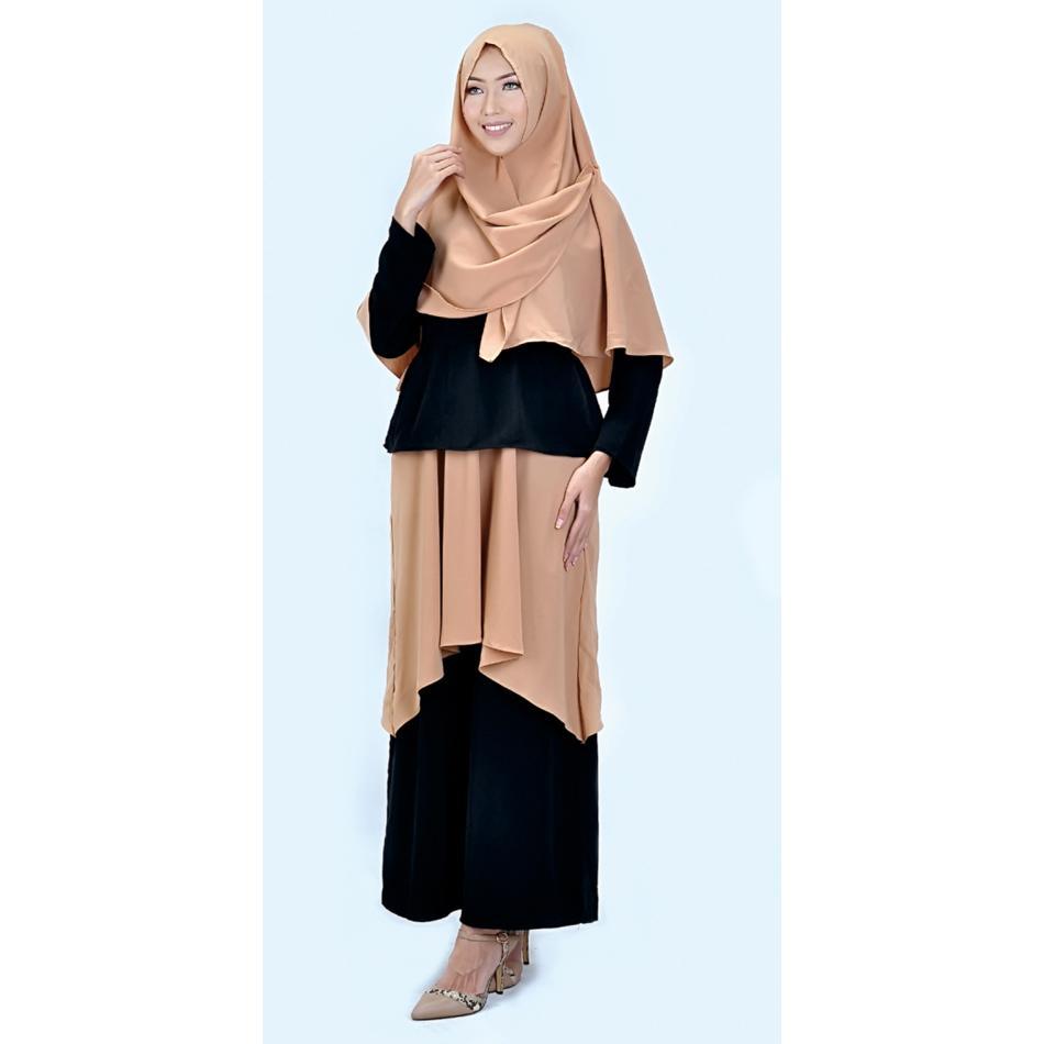 azzura 643-11 pakaian gamis wanita - wollpeach - cantik dan elegan (black)