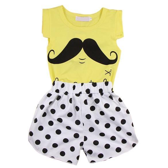 Jual Baby G*rl Jenggot Pola Sleeveless Shirt Spot Shorts Celana Suit Kuning Intl Murah Di Tiongkok