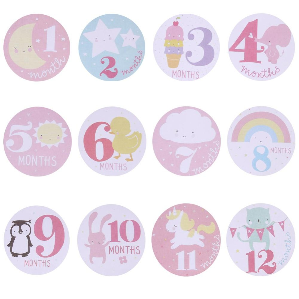 Baby Monthly Photograph Stickers Month 1-12 Milestone Stickers(Pink) - intl
