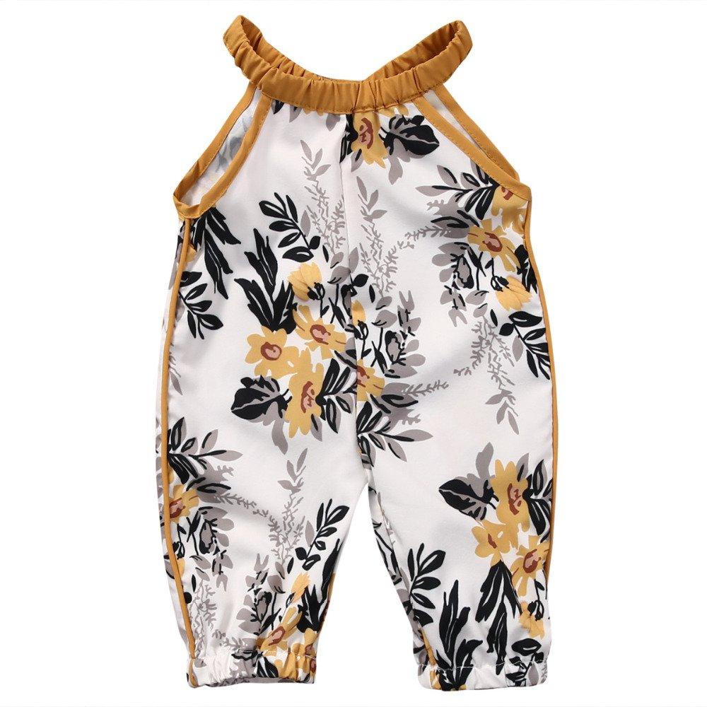 Harga Baby One Pieces Girls Pakaian Bayi Baby Anak Perempuan Floral Sleeveless Terusan Musim Panas Romper Pakaian Pakaian Set Kuning Intl