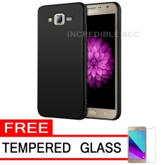 Anti Fingerprint Ultraslim Hybrid Case Baby Soft Babby Skin Softase Silicon Matte  for Samsung Galaxy J2 Prime - Black + Free Tempered Glass