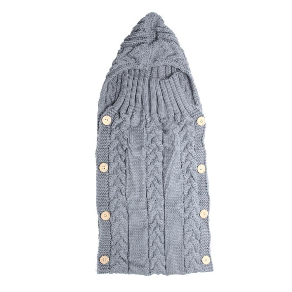 Baby Swaddle Wrap Hangat Wol Rajutan Swaddling Selimut Sleeping Bag (Grey)-Intl