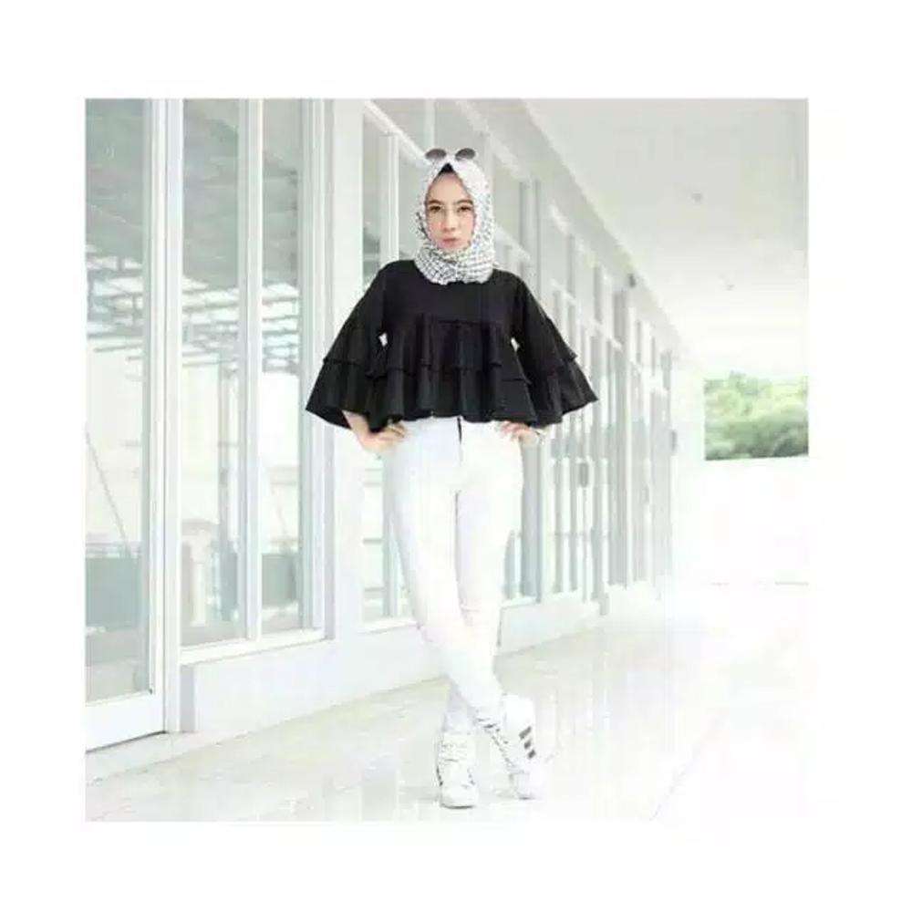 Baby Talk Club Yukky Ruffle Blouse - Atasan Wanita Baju Hijabers Baju OOTD Atasan Sehari Hari