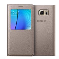 Com Merupakan E-commerce atau Pusat Belanja Online Terpercaya Dalam Menjual Perumahan Belakang Tampilan Smart Jendela Penutup Kulit Case untuk Samsung Galaxy Note 5 N9200 (emas)