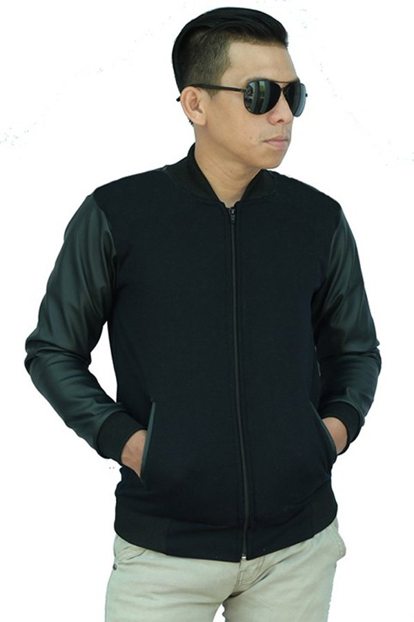 Bafash Jacket Leather Fleece Black Zipp Hitam Terbaru