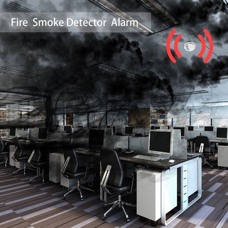 BAIK 5 Pcs Fire Asap Sensor Detektor Alarm Tester Cordless Rumah Family Guard Keamanan-Internasional