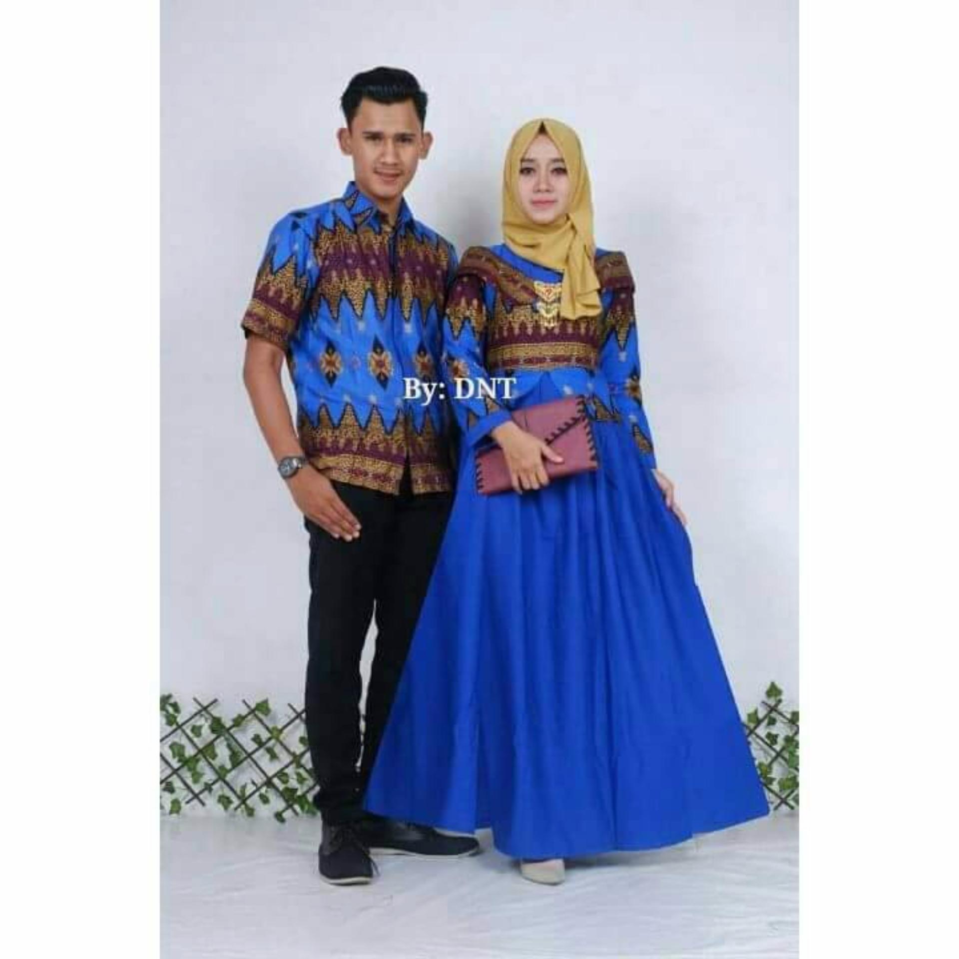 "Baju Batik Couple/ Batik Sarimbit ""Princess Jasmine"" - BIRU"