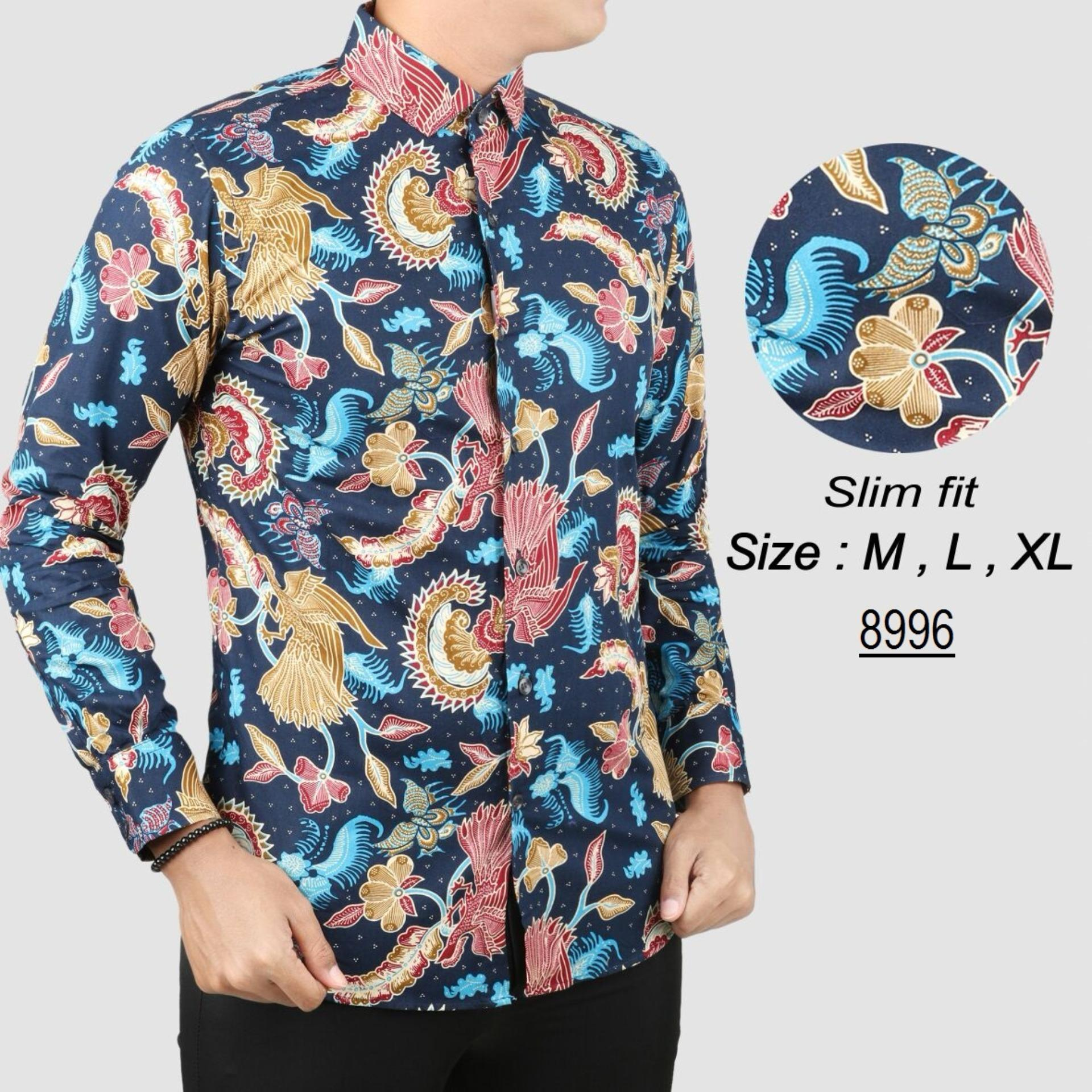 Diskon Baju Batik Modern Kemeja Pria Slim Fit 8996