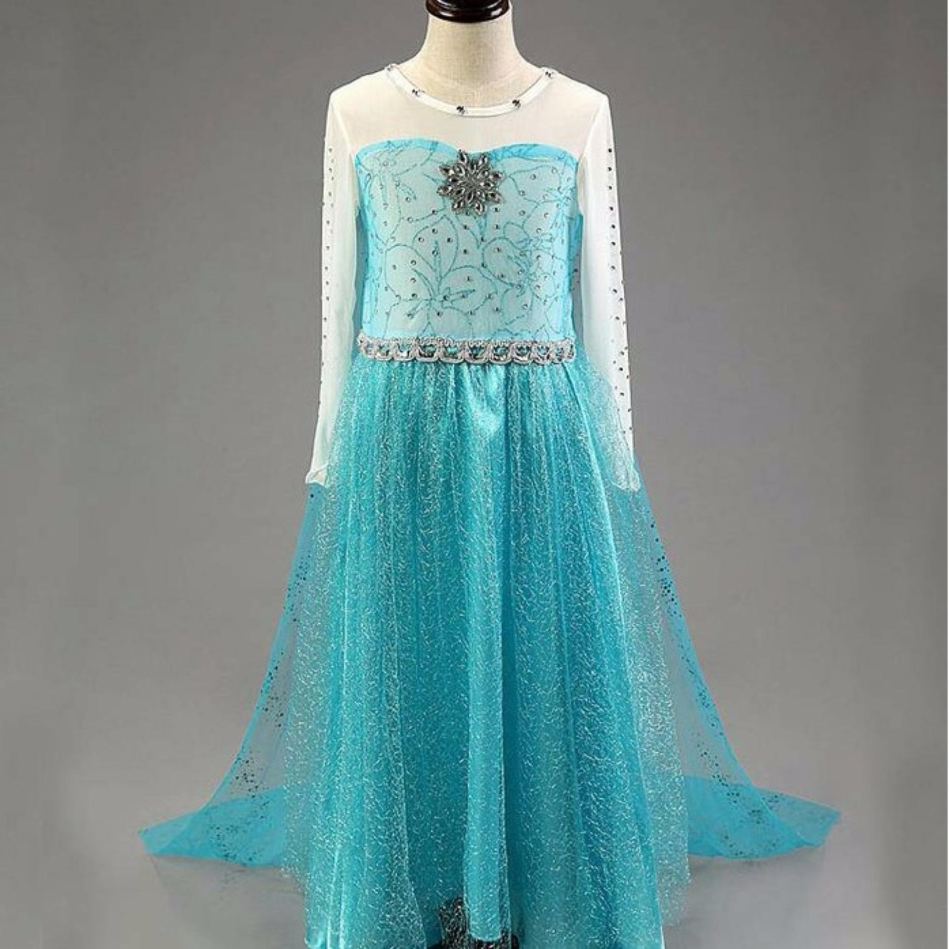 Baju Dress Frozen Elsa Anak Usia 3-8 Tahun