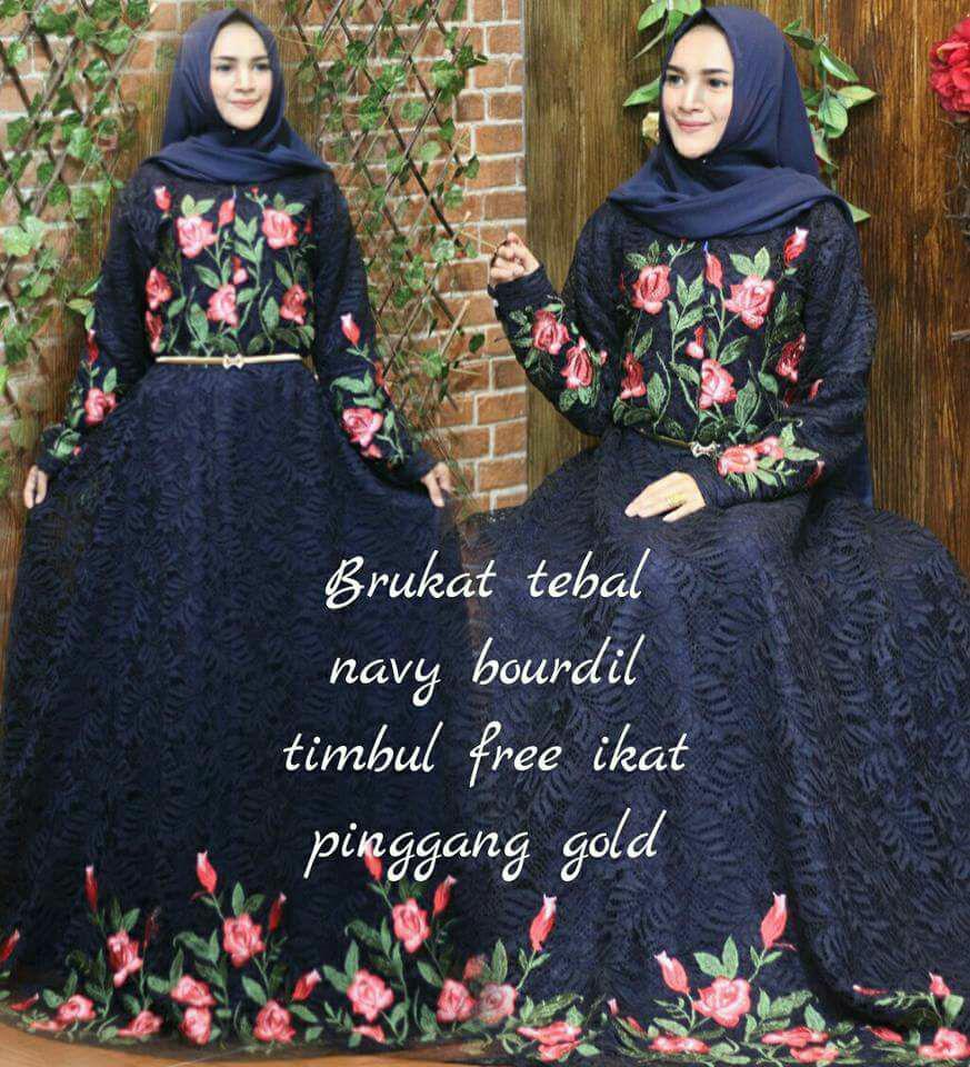 Baju dress gaun pesta muslim-gamis syari-brokat prancis-umrella klok 4m-murah
