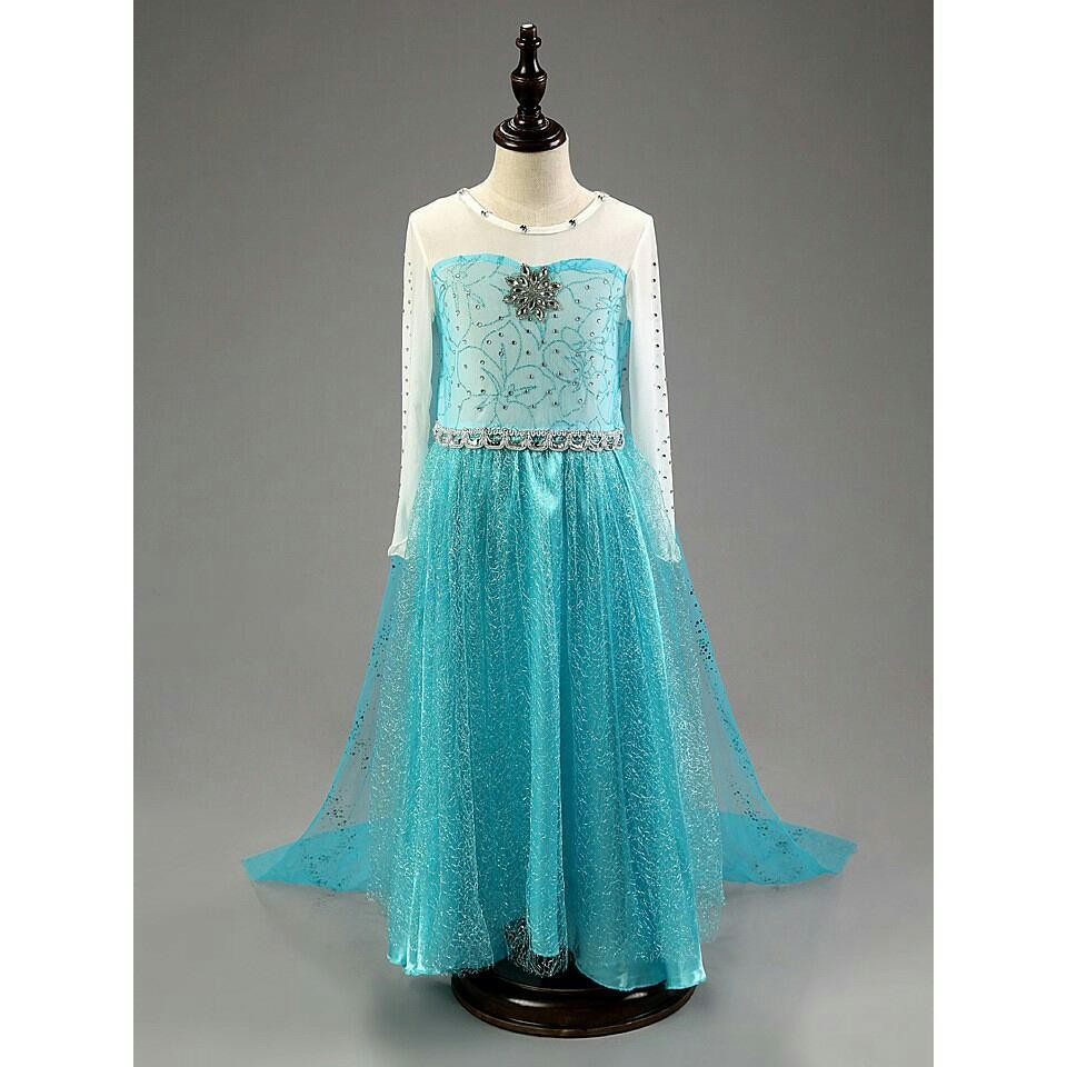 Baju dress kostum princess elsa frozen blue uk 110 utk anak 3-4 tahun