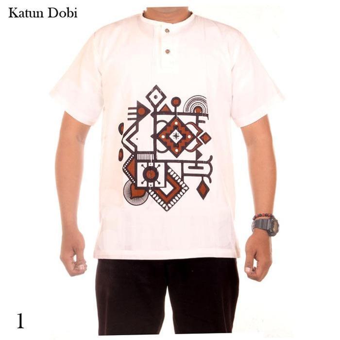 baju koko batik kombinasi dasar putih JB Adi 1