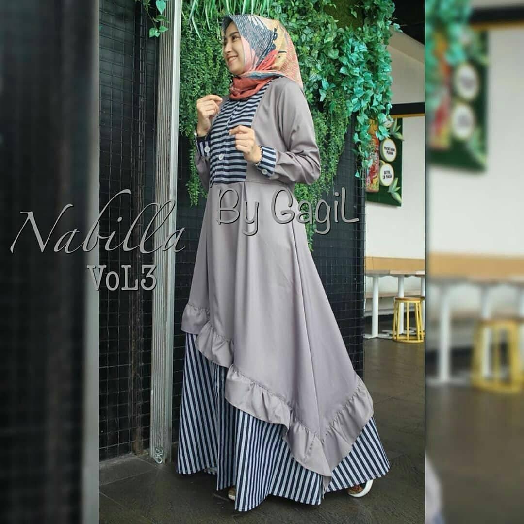 Baju Muslim Original Gamis Nabilla Vol3 Dress Baju Panjang Muslim Casual Wanita Pakaian Hijab Modern Modis Trendy Terbaru 2018