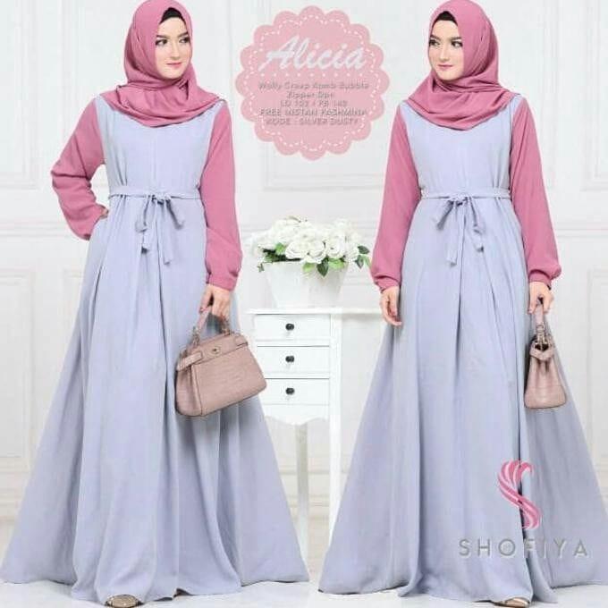Baju Original Alicia Dress Balotely 2in1 Gamis Panjang Hijab Casual Pakaian Wanita Muslim Modern Maxy Terbaru Tahun 2018