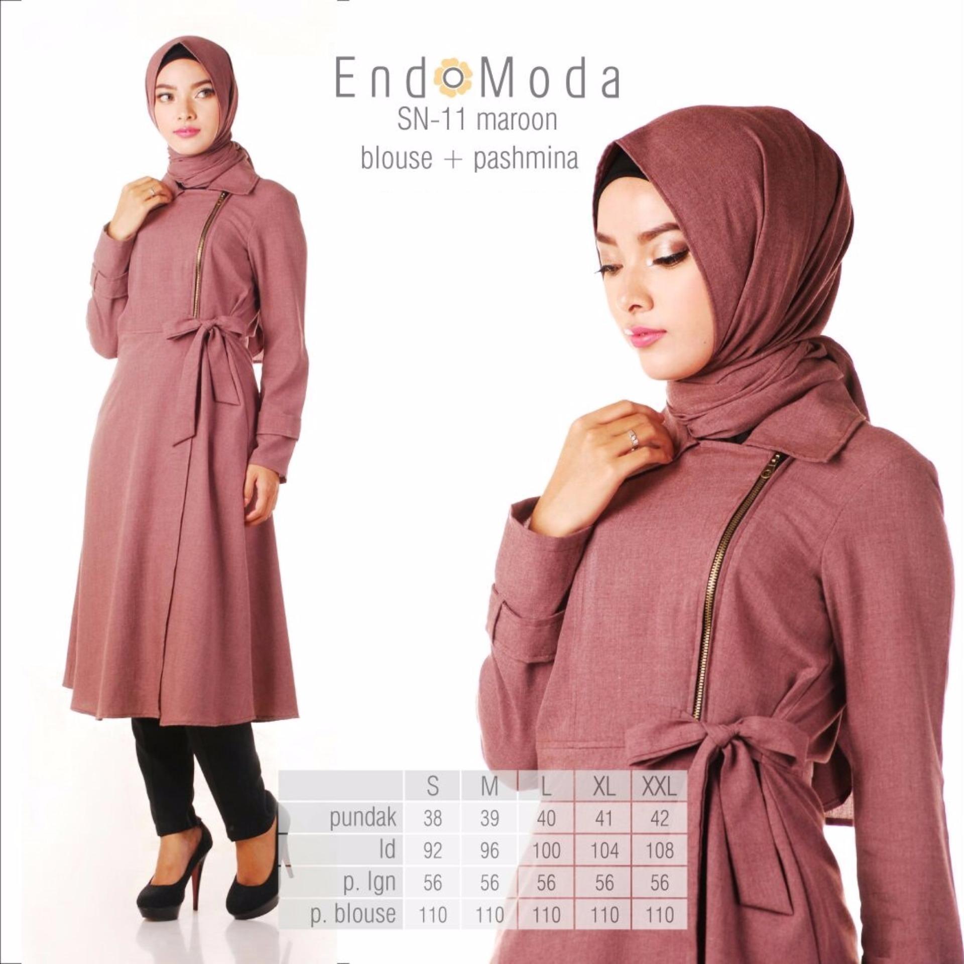 Baju Original Endo Moda Blouse Atasan SN-11 Kaos Wanita Baju Muslim Tunik Kemeja Kaos Maroon