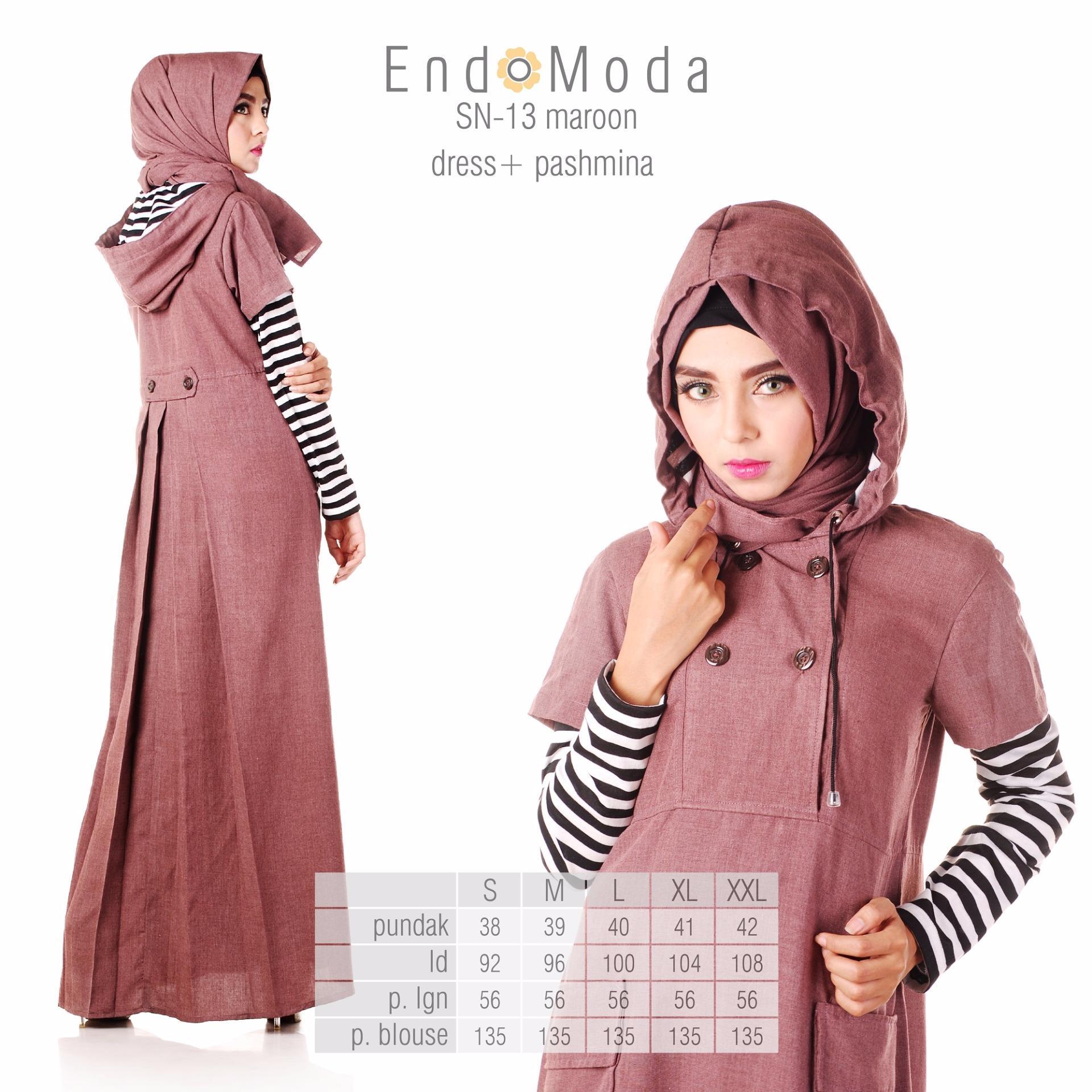 Spesifikasi Baju Original Endo Moda Sn 13 Dress Wanita Baju Muslim Modern Gamis Katun Supernova Premium Warna Maroon Terbaik