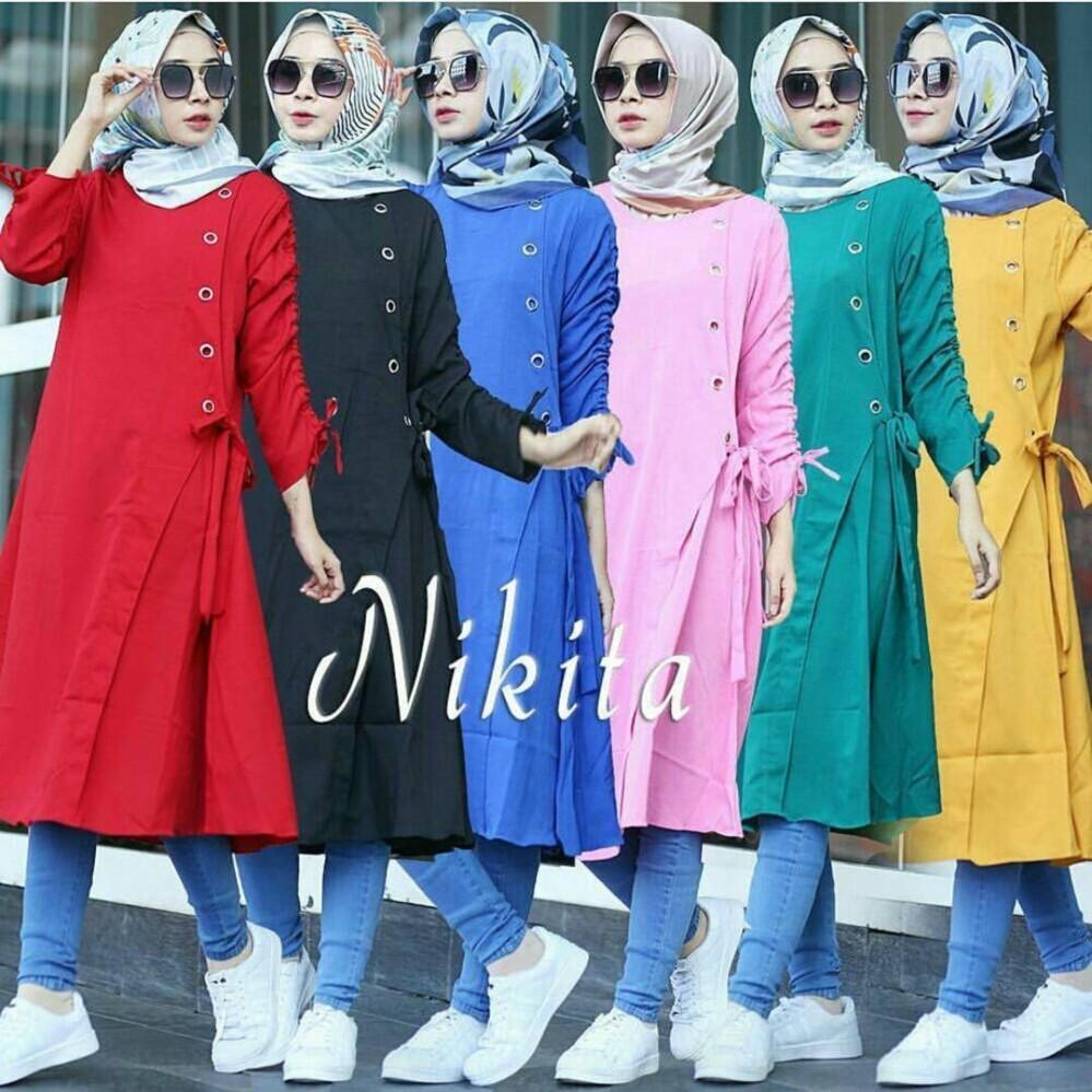 Baju Original Nikita Tunik Balotelly Baju Atasan Wanita Muslim Panjang  Pakaian Kerja Santai Casual c56be0927a