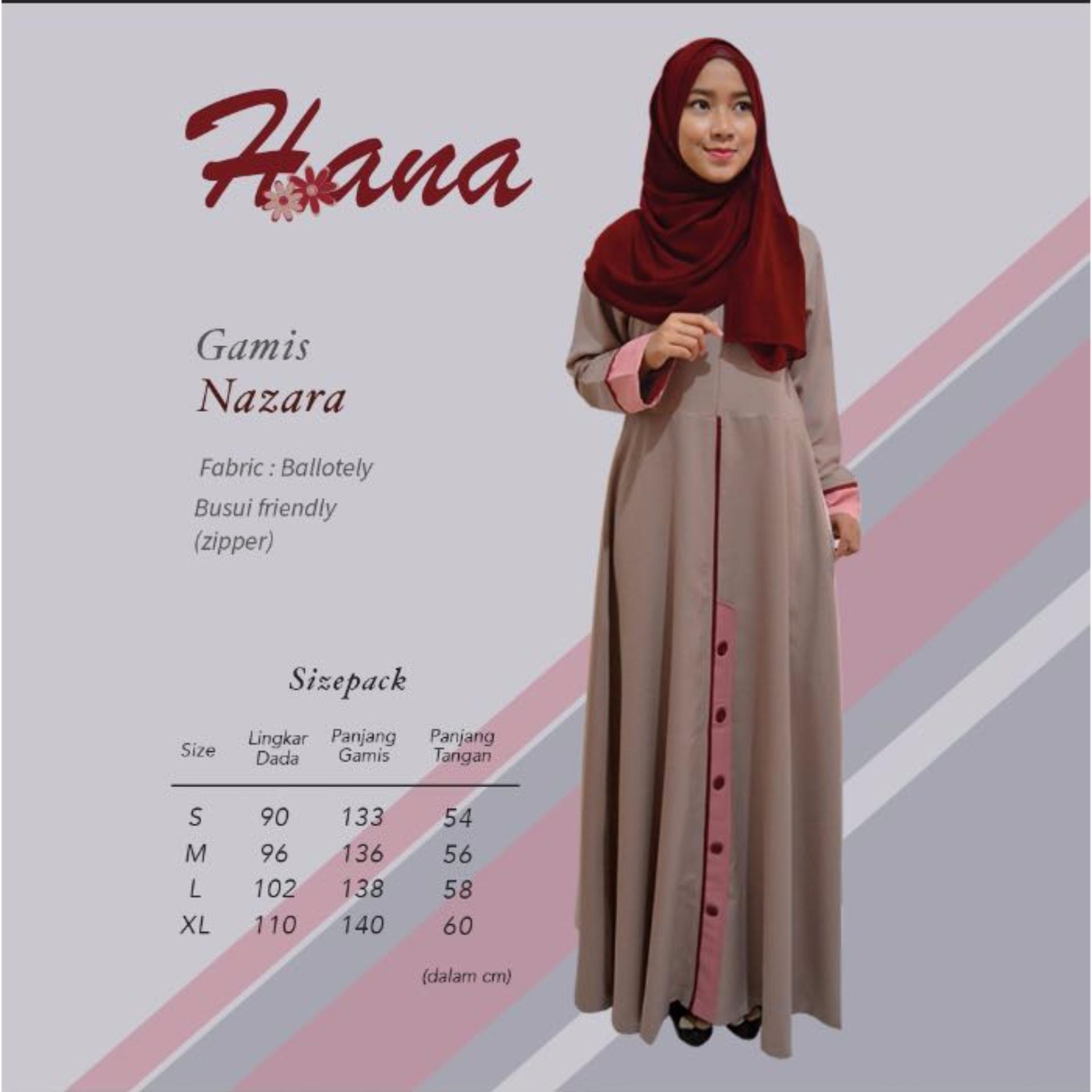 Baju OriginalHana H-01Baju Muslim Baju Hijab Baju Muslim Modern Wanita Baju Muslim Gamis Dress Kaos Warna Mocca