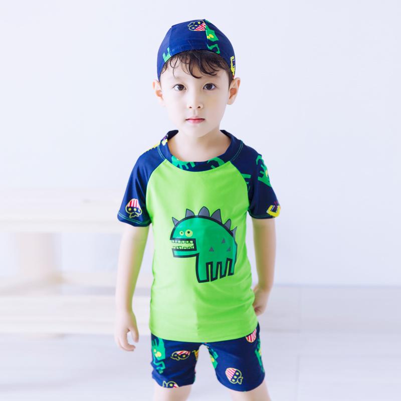 Setelan Celana Renang Anak Laki-laki Dinosaurus (Hijau (dengan topi)) (Hijau (dengan topi))