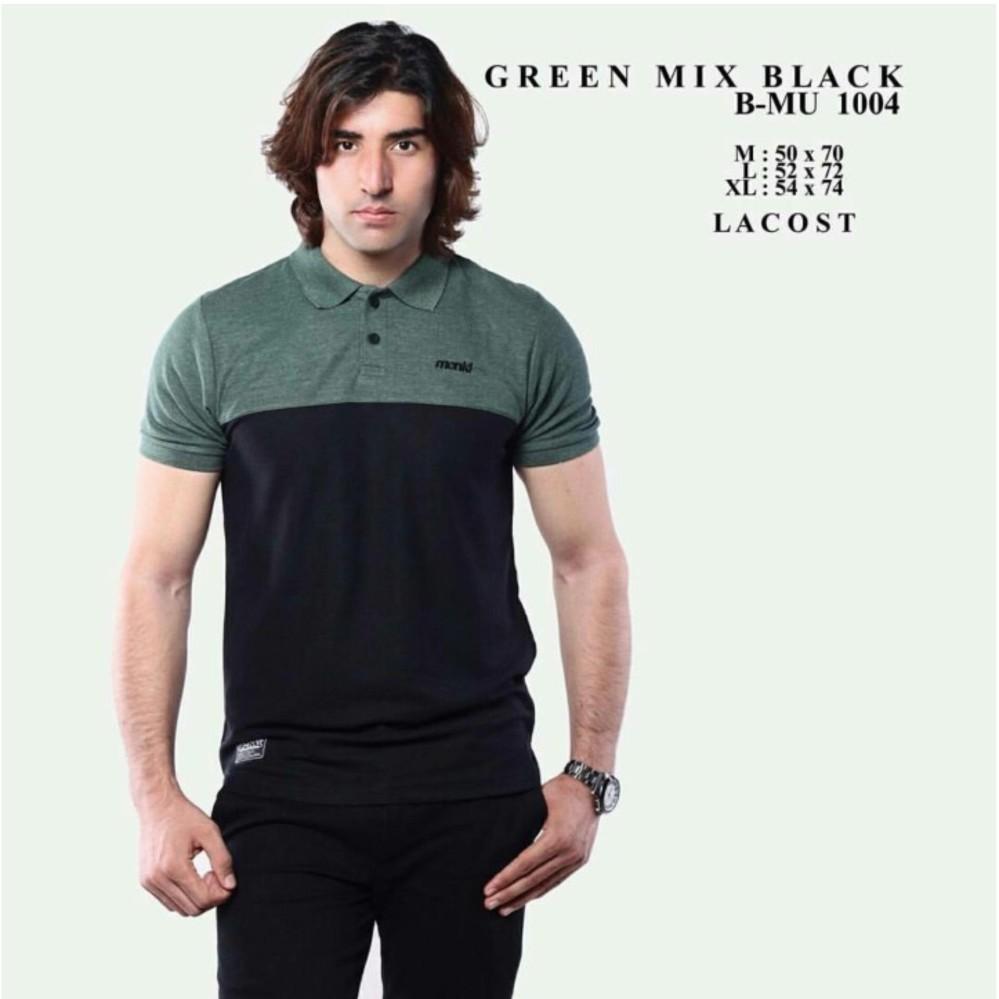 bajuku murah polo shirt green mix black b-mu 1004 kaos T-shirt pria tangan pendek poloshirt kemeja pria fashion pria atasan pria distro bandung batik kerja baju kantor tangan pendek kerah lipat mandarin