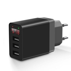Bakeey 2.4A LED Display 3 Ports EU Plug Cepat Travel Wall Charger untuk IPhone X 8 PLUS S8 Xiaomi 6 -Intl