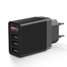 Bakeey 2.4A Layar LED 3 Port Uni Eropa Plug Perjalanan Cepat Charger Dinding untuk iPhone X 8 PLUS S8 Xiaomi 6-Intl